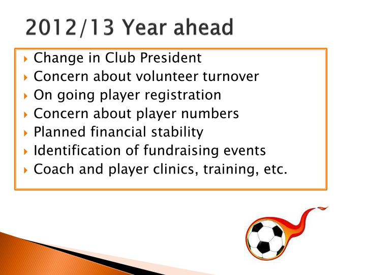 2012/13 Year ahead