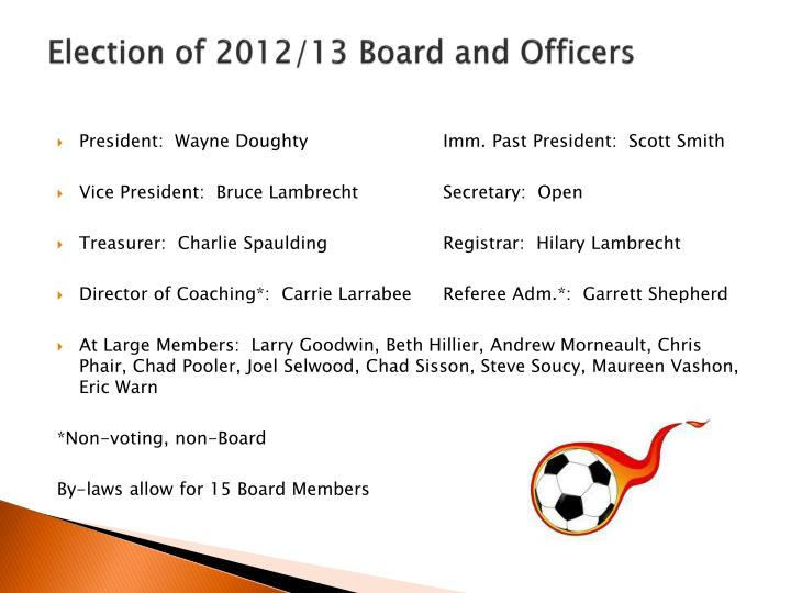 Election of 2012/13 Board and Officers