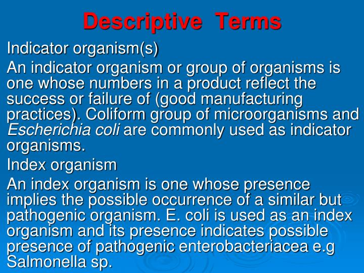 Descriptive  Terms