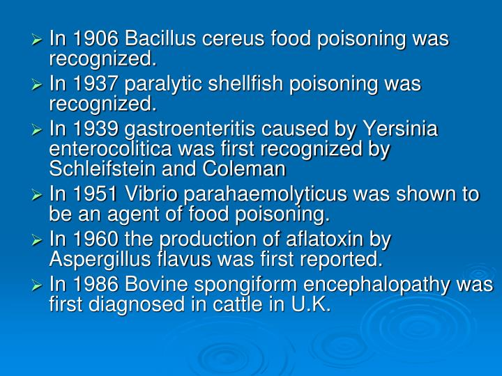 In 1906 Bacillus cereus food poisoning was recognized.
