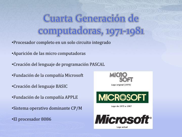 Cuarta Generación de computadoras, 1971-1981