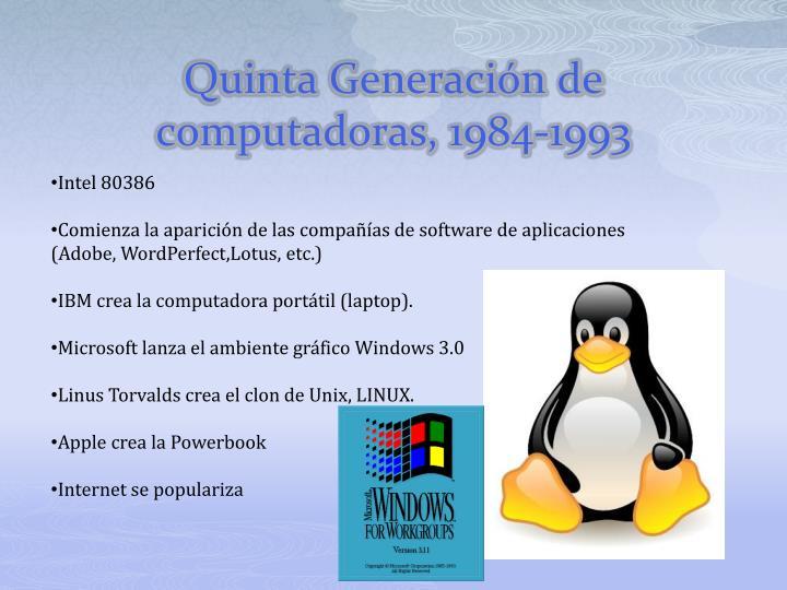 Quinta Generación de computadoras, 1984-1993