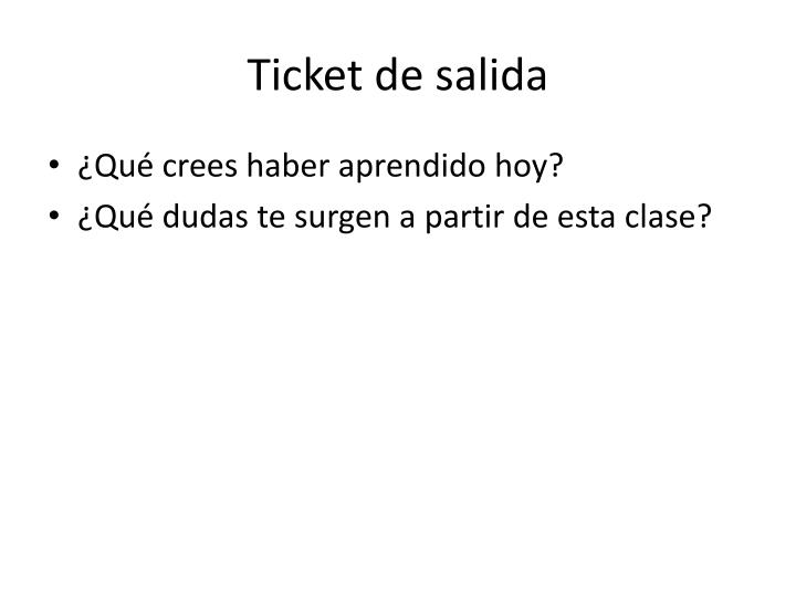 Ticket de salida