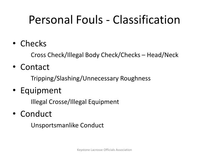 Personal Fouls - Classification