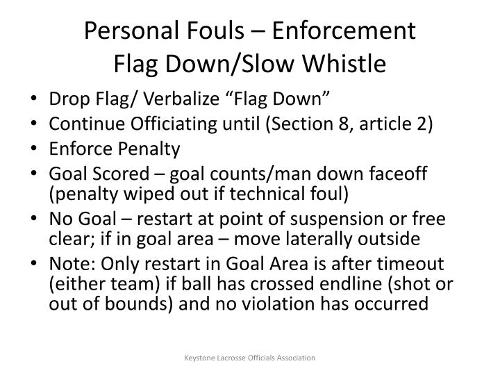 Personal Fouls – Enforcement