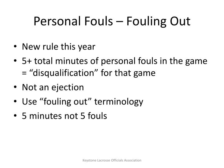 Personal Fouls – Fouling Out