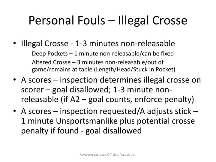 Personal Fouls – Illegal Crosse