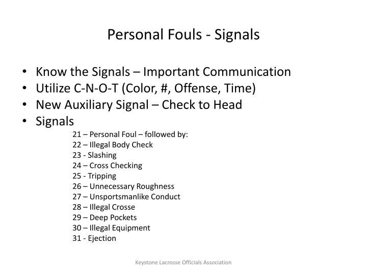 Personal Fouls - Signals