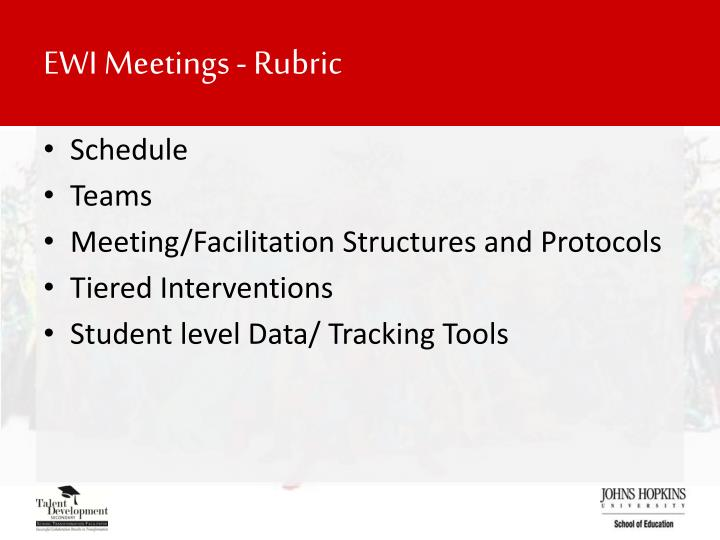 EWI Meetings - Rubric