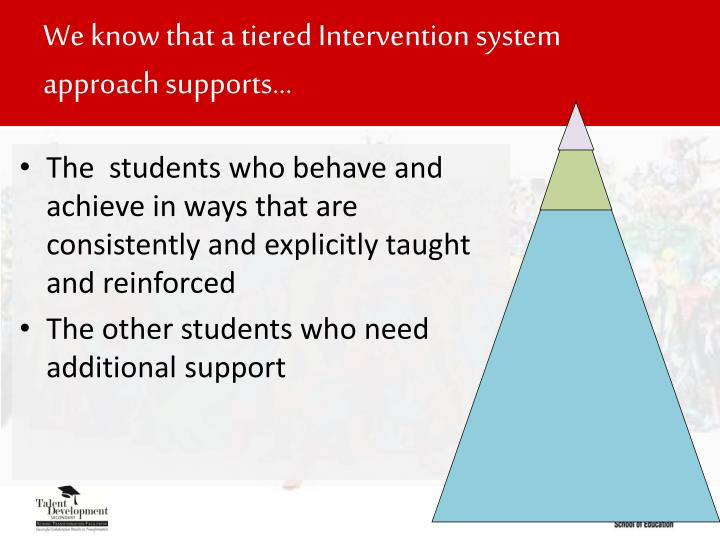 We know that a tiered Intervention system approach supports…