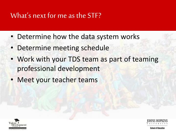 What's next for me as the STF?