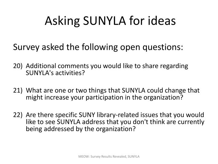 Asking SUNYLA for