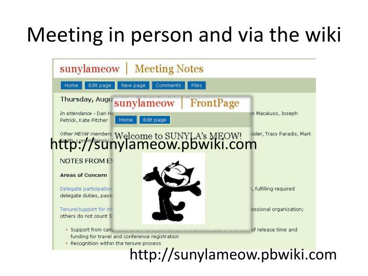 Meeting in person and via the wiki