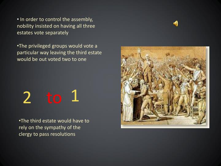 In order to control the assembly, nobility insisted on having all three estates vote separately