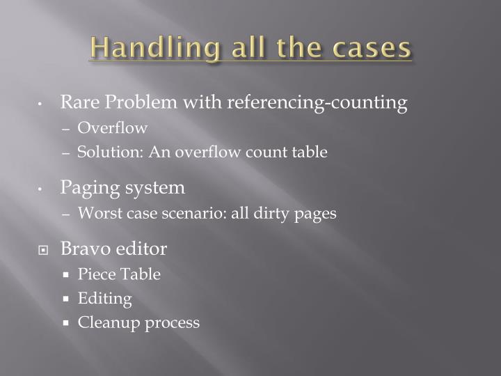 Handling all the cases