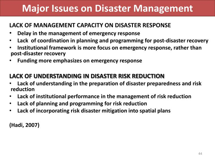 Major Issues on Disaster Management