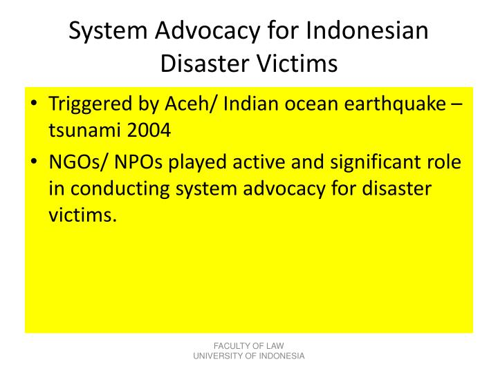 System Advocacy for Indonesian Disaster Victims