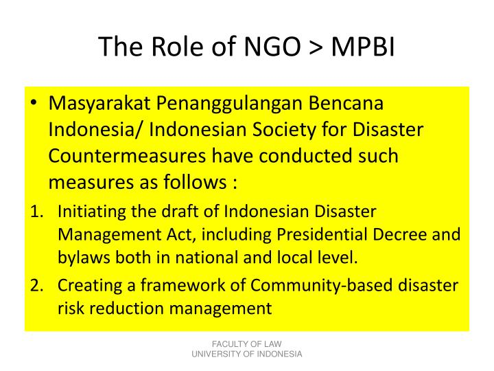 The Role of NGO > MPBI