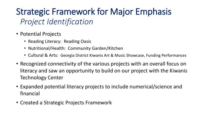Strategic Framework for Major Emphasis
