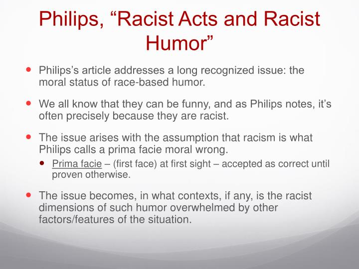 "Philips, ""Racist Acts and Racist Humor"""