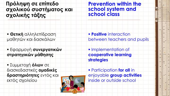 Prevention within the school system and school class