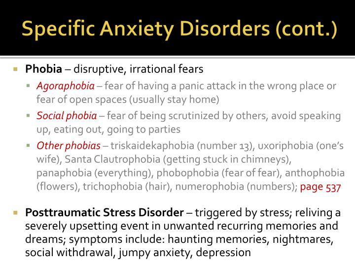 Specific anxiety disorders cont