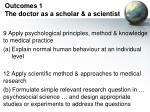 outcomes 1 the doctor as a scholar a scientist
