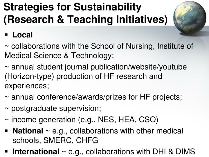 Strategies for Sustainability (Research & Teaching Initiatives)