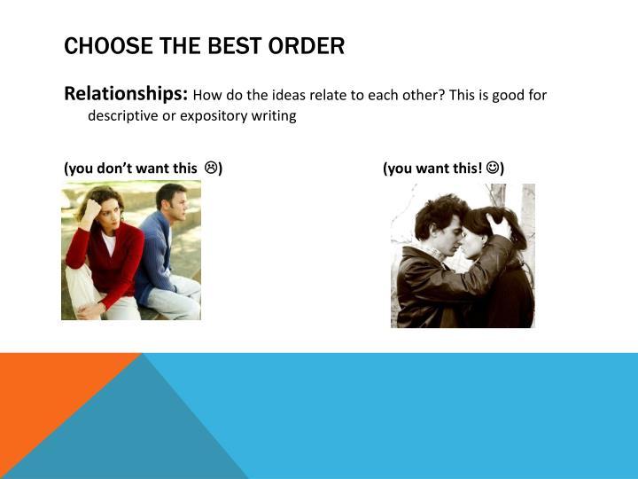 Choose the best order