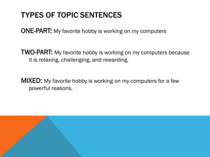 TYPES OF TOPIC SENTENCES