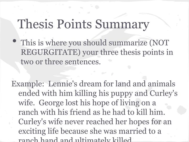 Thesis Points Summary