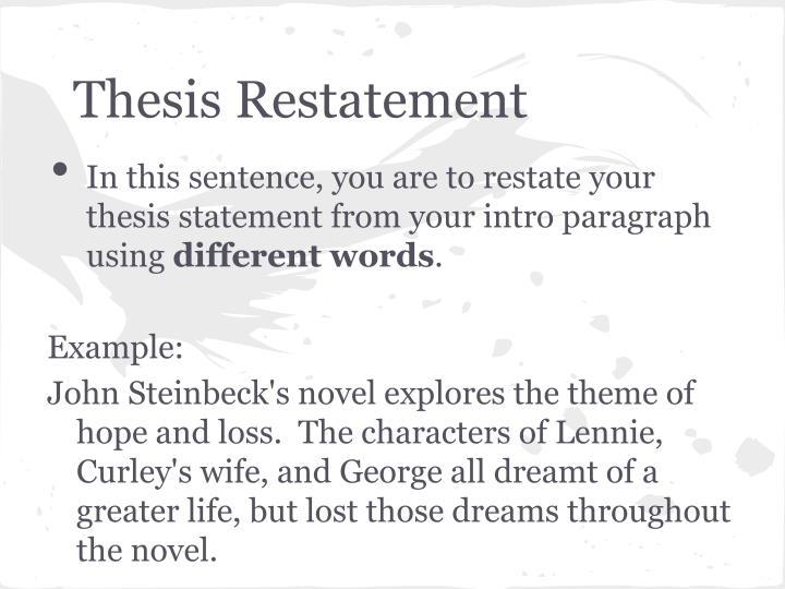 Thesis Restatement