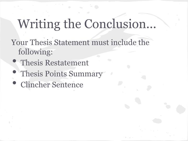 Writing the Conclusion...