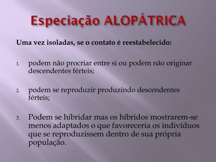 Especiação ALOPÁTRICA