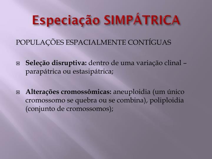 Especiação SIMPÁTRICA