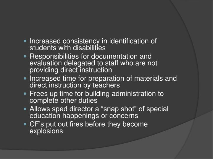 Increased consistency in identification of students with disabilities