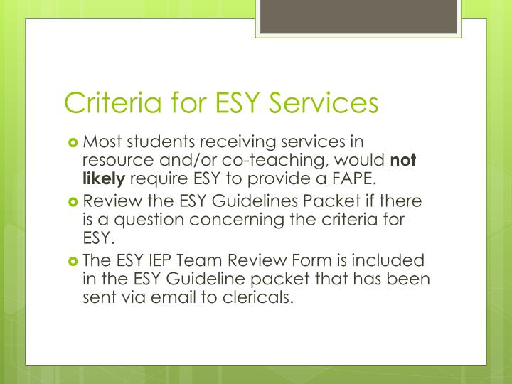 Criteria for ESY Services