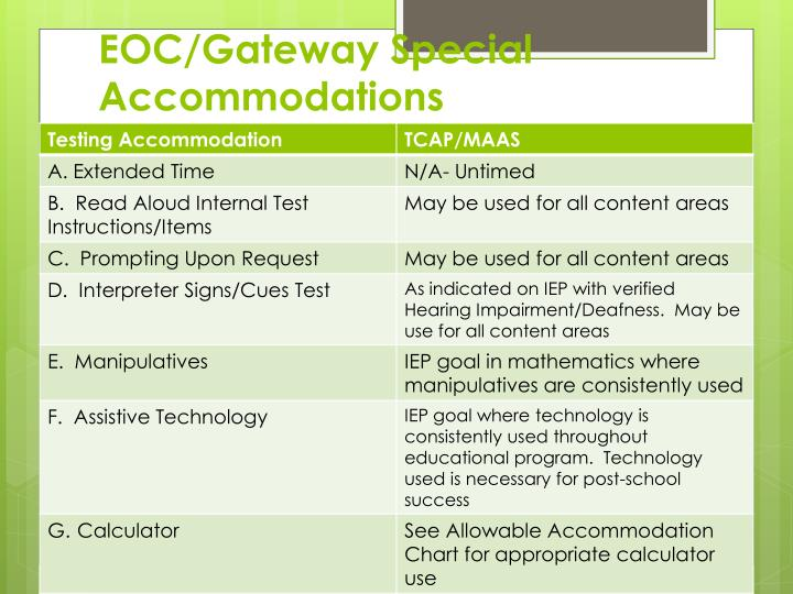 EOC/Gateway Special Accommodations