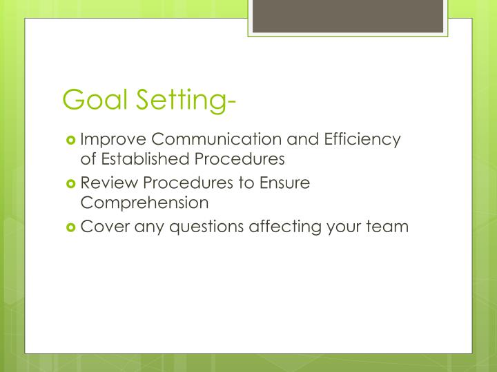 Goal Setting-