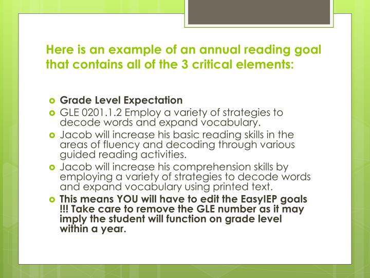 Here is an example of an annual reading goal that contains all of the 3