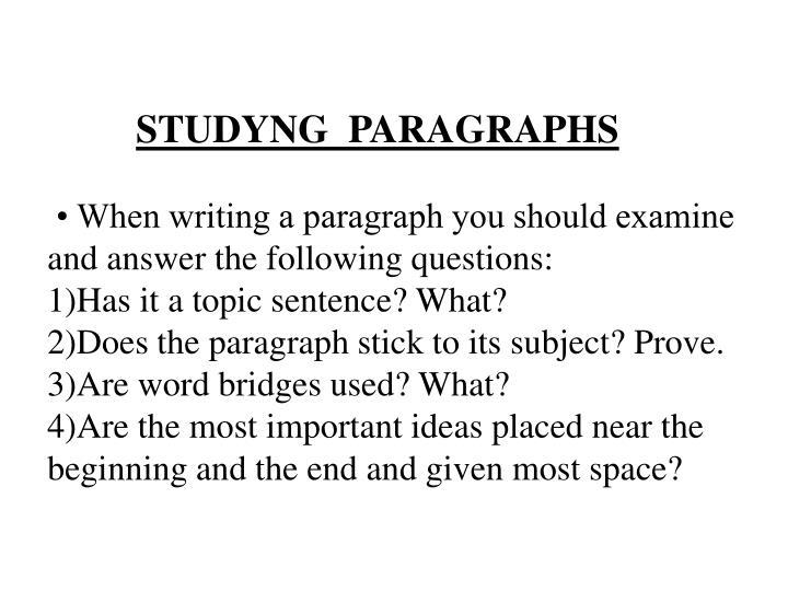 STUDYNG  PARAGRAPHS