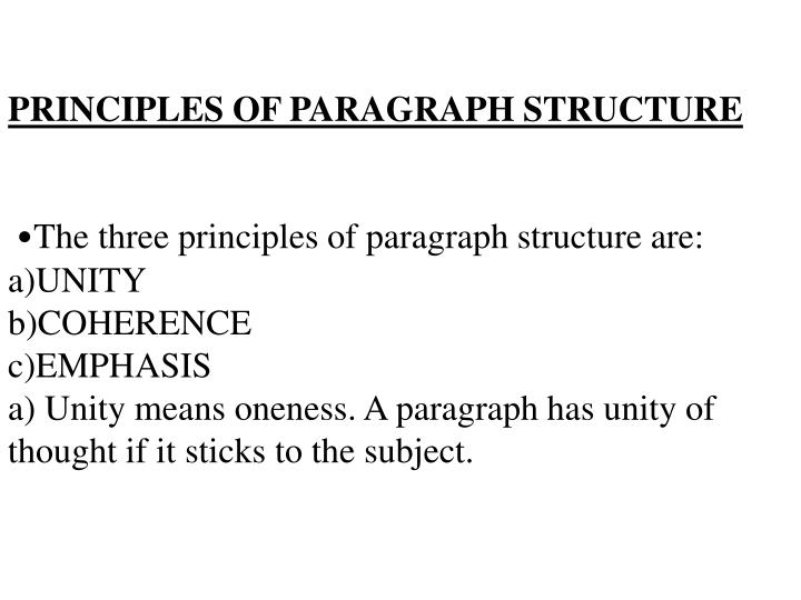 PRINCIPLES OF PARAGRAPH STRUCTURE