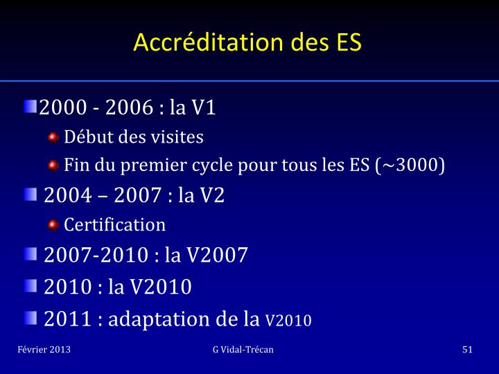 Accréditation des ES