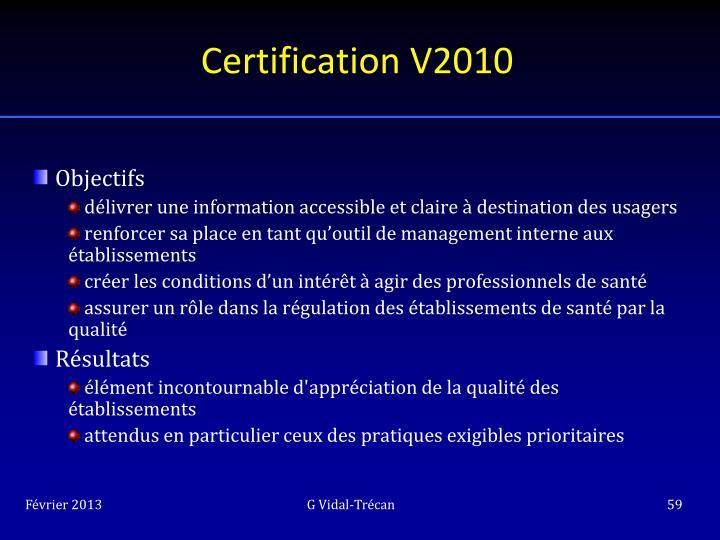 Certification V2010
