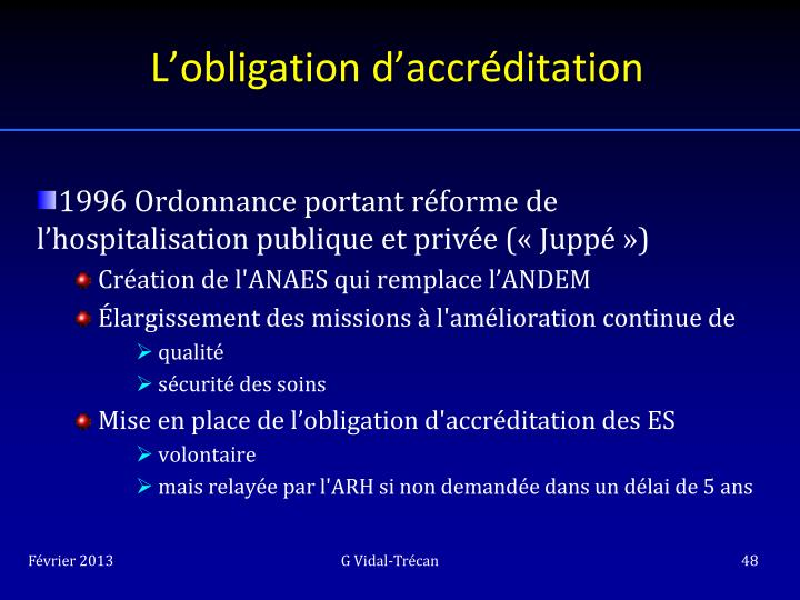 L'obligation d'accréditation