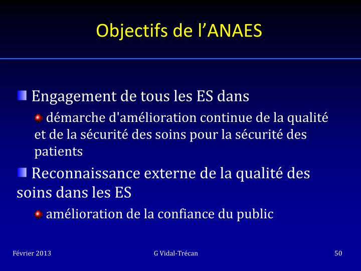 Objectifs de l'ANAES