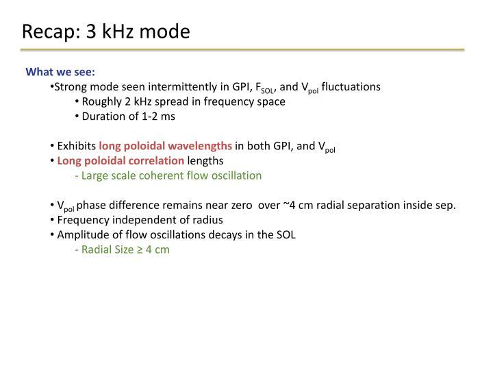 Recap: 3 kHz mode