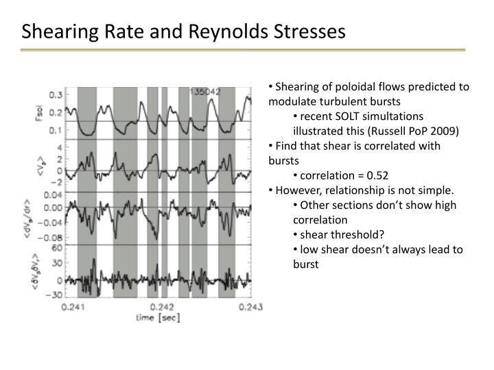Shearing Rate and Reynolds Stresses