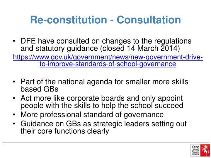 Re-constitution - Consultation
