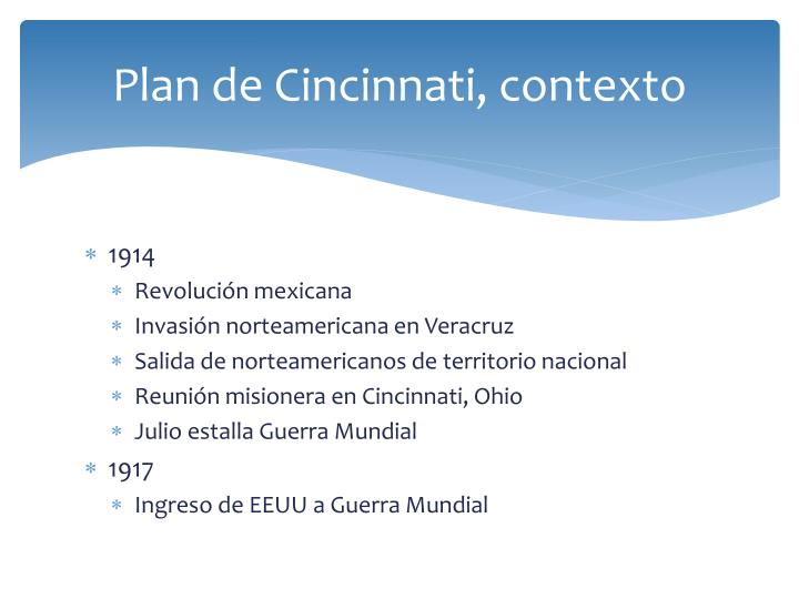 Plan de Cincinnati, contexto